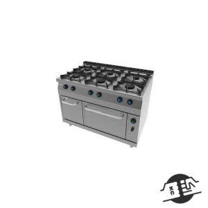 JEMI 716 Gasfornuis 6 zones met ingebouwde oven
