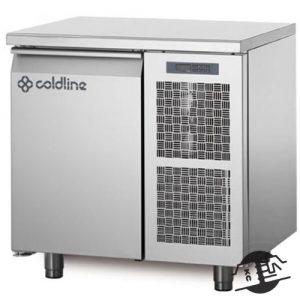 Coldline TA09/1B Vrieswerkbank 1-deurs, met bovenblad en opstaande rand